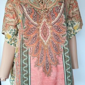 Chico's Womens Studded Colorful Paisley Size 1